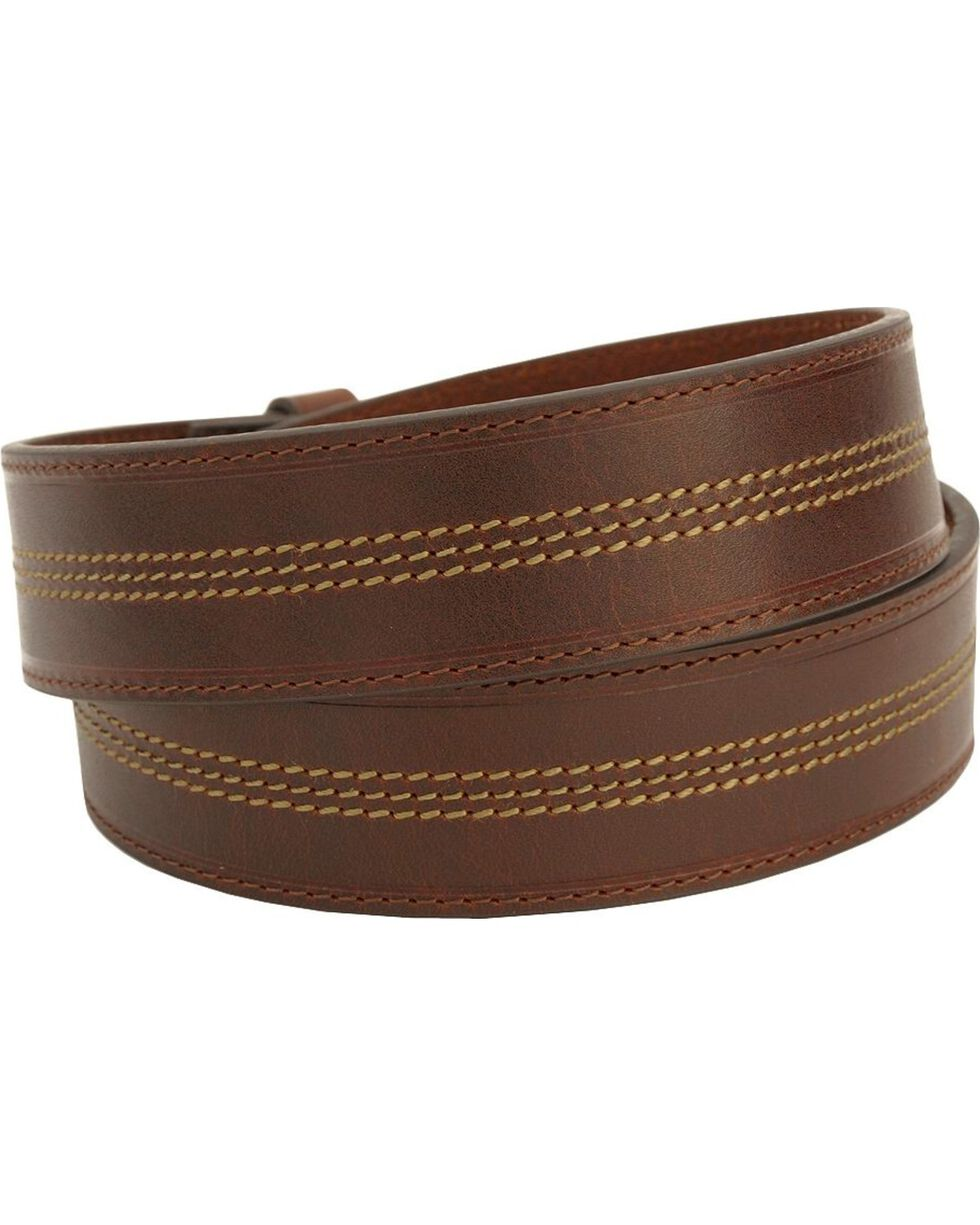 John Deere Contrast Stitch Leather Western Belt, Brown, hi-res
