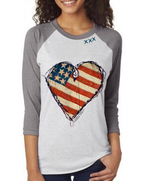 Bohemian Cowgirl Women's Flag Heart Baseball Tee , White, hi-res