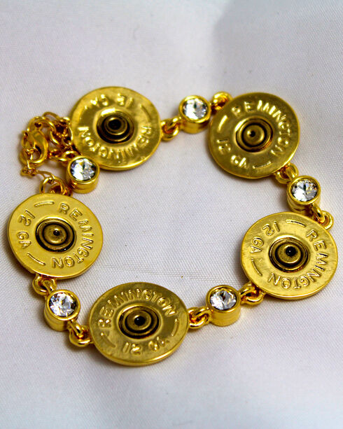 SouthLife Supply Women's Shotshell Link Bracelet in Traditional Gold with Crystals, Gold, hi-res