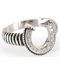 Montana Silversmiths Women's Striped Horseshoe Ring, , hi-res