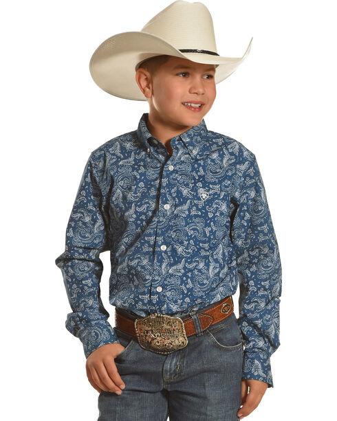 Ariat Boys' Print Desmont Long Sleeve Shirt, Teal, hi-res