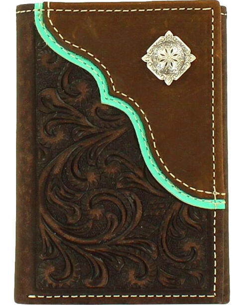 Nocona Men's Tri-Fold Concho Embossed Leather Wallet , Brown, hi-res