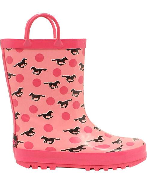 Blazin Roxx Jaylee Horse Rain Boots - Round Toe, Pink, hi-res