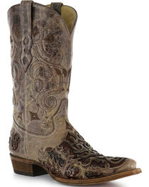 "Corral Men's 13"" Caiman Inlay Exotic Western Boots, , hi-res"