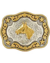 Nocona Boys' Silver & Gold Horse Head Buckle, , hi-res