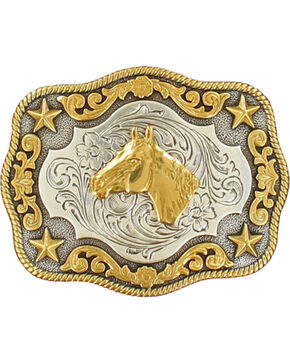 Nocona Boys' Silver & Gold Horse Head Buckle, Silver, hi-res