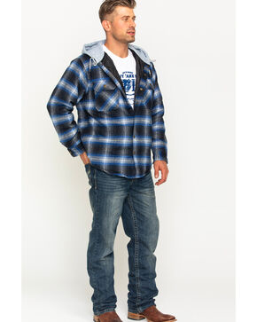 Victory Rugged Wear Men's Hooded Flannel Snap Shirt Jacket, Blue, hi-res