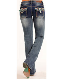 Rock & Roll Cowgirl Women's Low Rise Aztec Embellished Jeans - Boot Cut , , hi-res