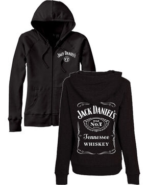 Jack Daniel's Women's Zip Up Label Graphic Hoodie, Black, hi-res