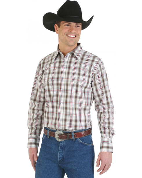 Wrangler Wrinkle Resist Grey and Khaki Plaid Western Shirt, Grey, hi-res
