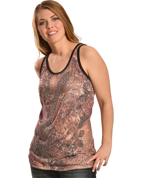 Liberty Wear Women's Leopard Guitar Tank Top, Brown, hi-res