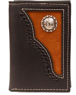 Fancy Inlay & Cowboy Prayer Concho Tri-Fold Wallet, Brown, hi-res