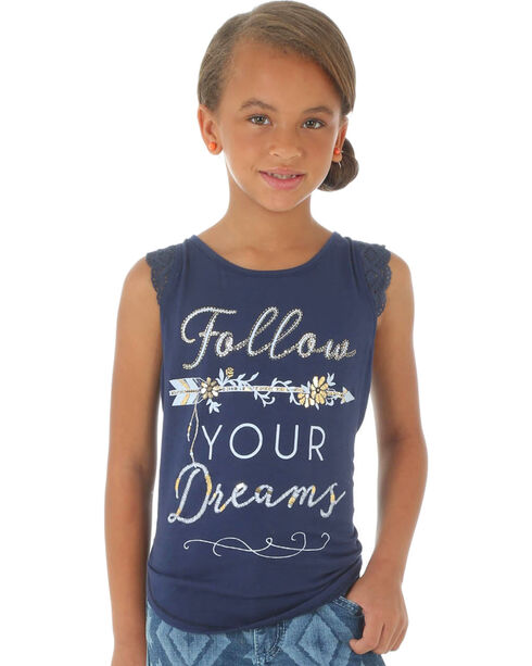 Wrangler Girls' Rock 47 Follow Your Dreams Graphic Tank Top, Navy, hi-res