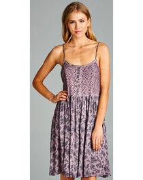 Hyku Women's Mauve Sleeveless Print Dress, , hi-res