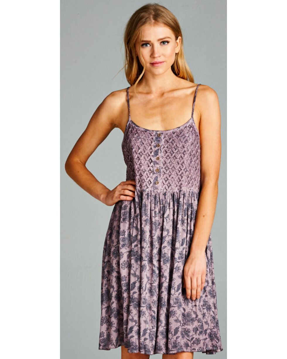 Hyku Women's Mauve Sleeveless Print Dress, Mauve, hi-res