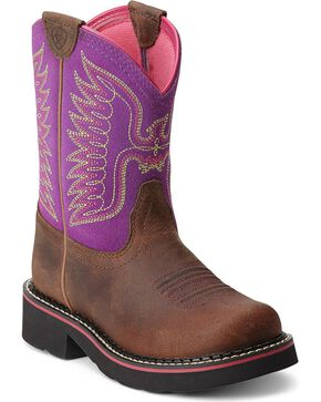 Ariat Fatbaby Girls' Thunderbird Cowgirl Boots - Round Toe, Brown, hi-res