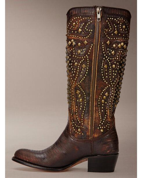 Frye Women's Deborah Deco Tall Cowgirl Boots - Round Toe, Dark Brown, hi-res