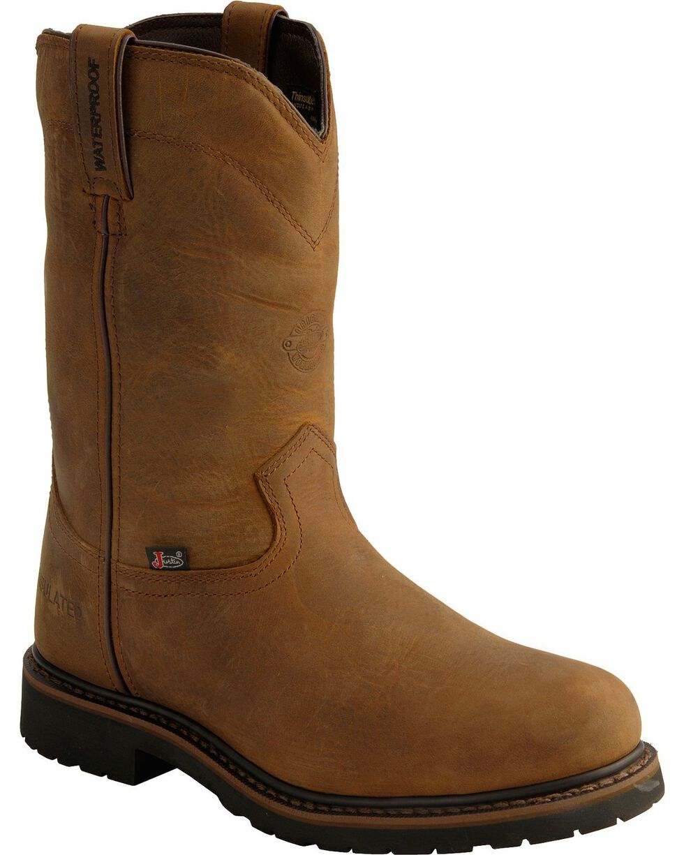 Justin Men's Wyoming Insulated Waterproof Work Boots, Brown, hi-res
