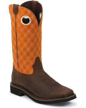 Justin Men's Stampede Quilt Stitch Work Boots, Brown, hi-res