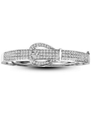 Kelly Herd Women's Silver Pave Stone Buckle Bracelet , Silver, hi-res