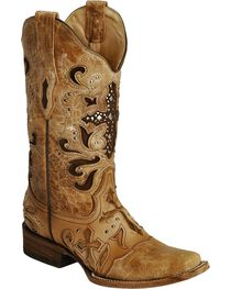Corral Women's Studded Cross Inlay Western Boots, , hi-res