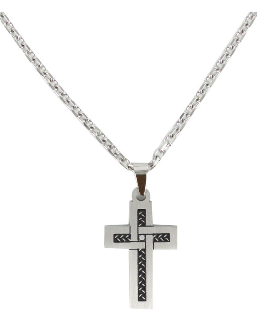 Cody James® Men's Rhinestone Cross Necklace, Silver, hi-res