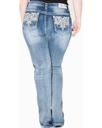 Gracein LA Embroidered Bootcut Jeans - Plus Size, , hi-res