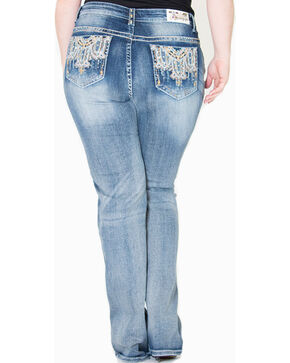 Gracein LA Embroidered Bootcut Jeans - Plus Size, Indigo, hi-res