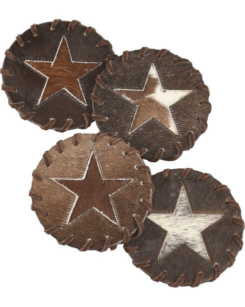 BB Ranch Star Cowhide Coaster, Brown, hi-res
