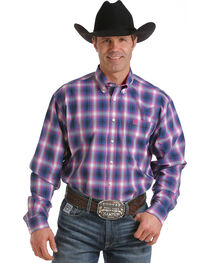 Cinch Men's Blue One Pocket Contrasting Long Sleeve Plaid Shirt , , hi-res