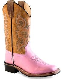 Old West Youth Girls' Pink Cowgirl Boots - Square Toe , , hi-res
