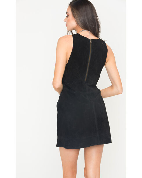 MI.OH.MI. Women's Suede Sleeveless Dress, Black, hi-res