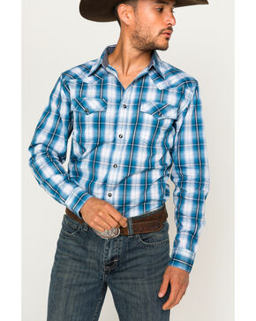Cody James Men's Blue Plaid Long Sleeve Western Snap Shirt, Blue, hi-res