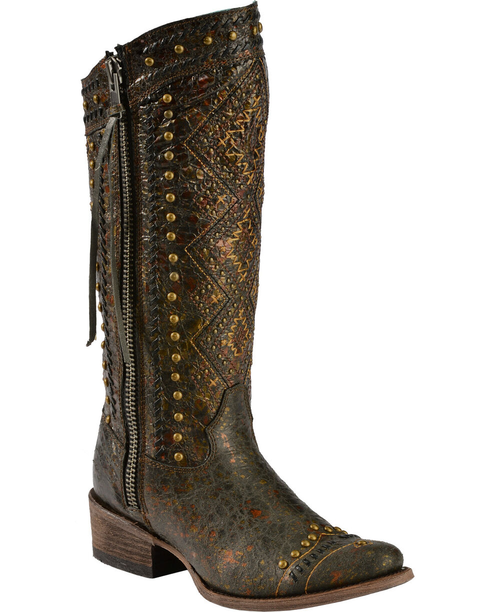 Corral Women's Stud and Aztec Fashion Western Boots, Brown, hi-res