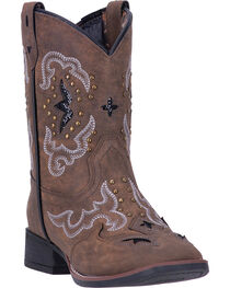 Laredo Girls' Spellbound Broad Square Toe Western Boots, , hi-res