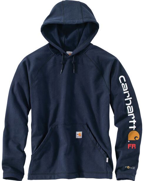 Carhartt Men's Flame Resistant Rugged Flex Graphic Logo Fleece Jacket - Big & Tall, Navy, hi-res