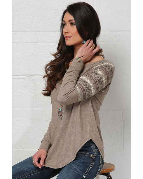 Cruel Girl Women's Brown Boyfriend Fit Heathered Top, Brown, hi-res