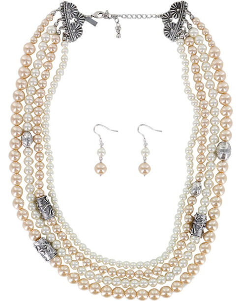 Shyanne Women's Pearl Jewelry Set, Silver, hi-res
