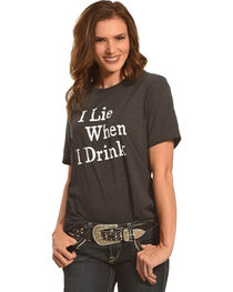 Cowgirl Justice Women's I Lie When I Drink Tee , , hi-res
