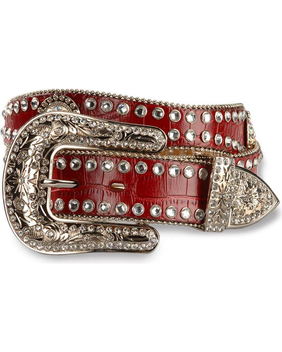 Blazin Roxx Red Croc Print Concho Bling Belt, Red, hi-res
