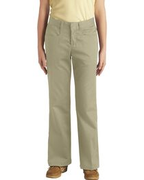 Dickies Girls' Stretch Bootcut Pants - 16-18, , hi-res
