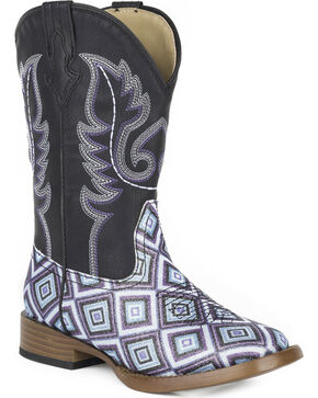 Roper Girls' Glitter Diamonds Western Boots - Square Toe , Black, hi-res