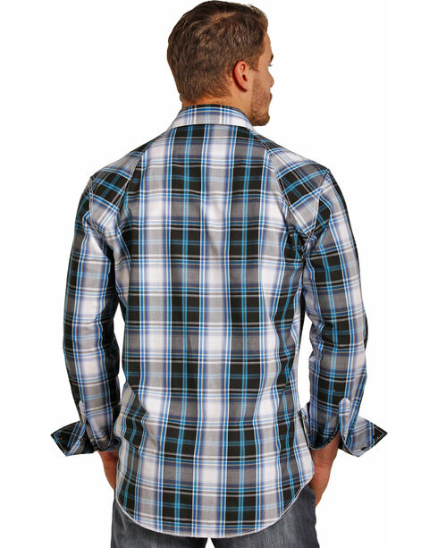 Rock & Roll Cowboy Men's Plaid Long Sleeve Snap Shirt, Black/blue, hi-res