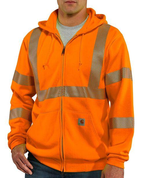 Carhartt High-Visibilty Zip-Front Class 3 Sweatshirt, Orange, hi-res