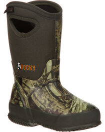Rocky Core Children's Rubber Waterproof Insulated Pull-On Boots, Camouflage, hi-res