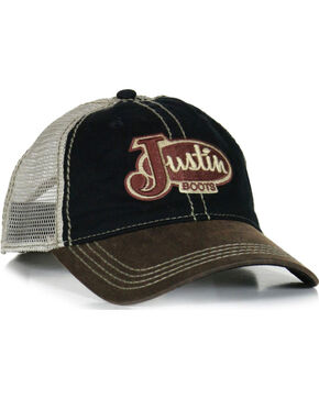 Justin Men's Two Toned Embroidered Trucker Hat, Black, hi-res