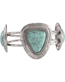 Shyanne Women's Turquoise Stone Hinged Cuff Bracelet, , hi-res