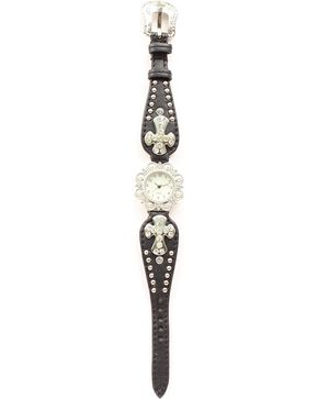 Blazin Roxx Studded Cross Concho Watch, Black, hi-res