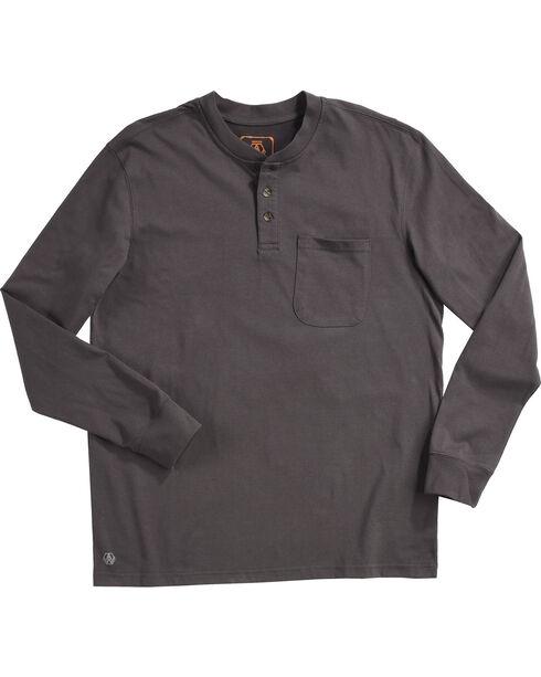 American Worker Men's Mason Pocket Henley Shirt - Tall, Charcoal, hi-res