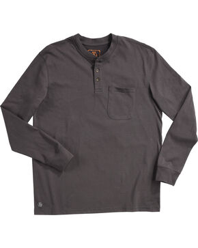 American Worker Men's Charcoal Mason Pocket Henley Shirt , Charcoal, hi-res